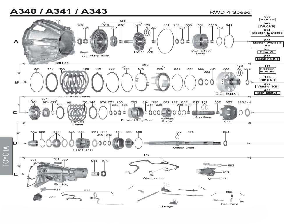 Руководство акпп A340 / A341 /