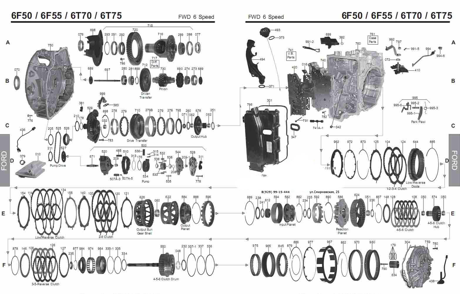 Акпп руководство 6T70, 6T75 (6F50-Ford)